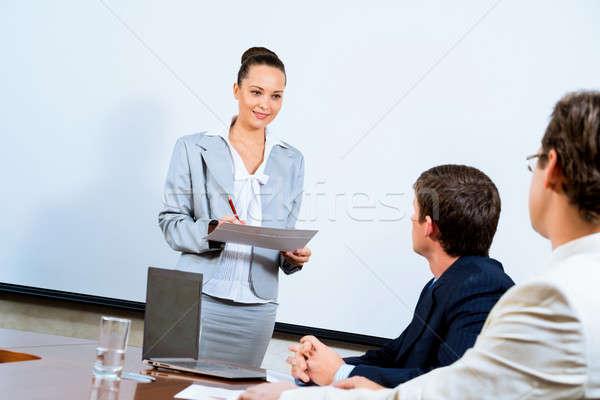 деловой женщины коллеги изображение бизнеса улыбка здании Сток-фото © adam121