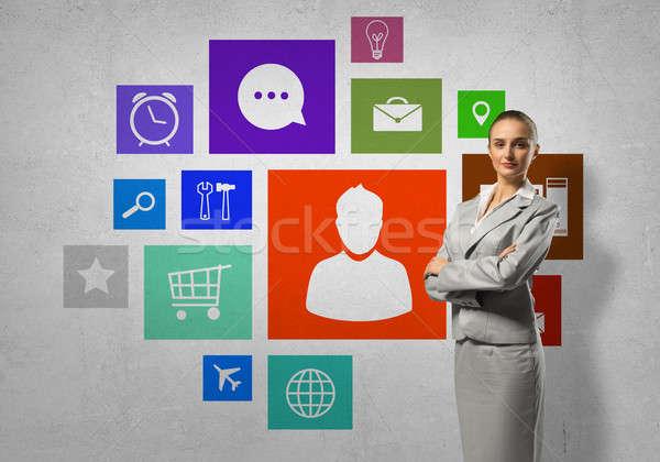 インターフェース プレゼンテーション 女性実業家 色 アプリケーション アイコン ストックフォト © adam121