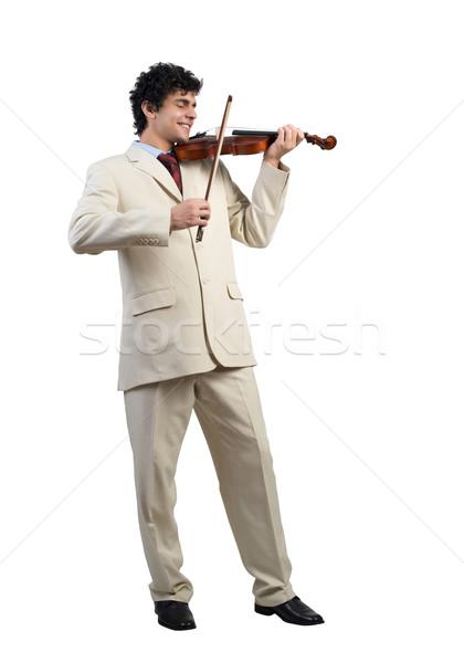 Zakenman spelen viool jonge geïsoleerd witte Stockfoto © adam121