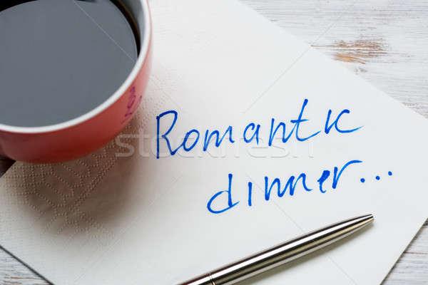 Romantik mesaj yazılı peçete fincan kahve Stok fotoğraf © adam121