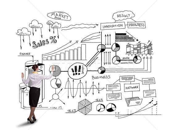 Réussi marketing plan vue arrière femme d'affaires isolé Photo stock © adam121