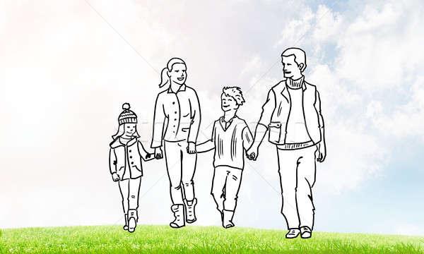 Boldog együtt kézzel rajzolt boldog család lezser ruházat Stock fotó © adam121