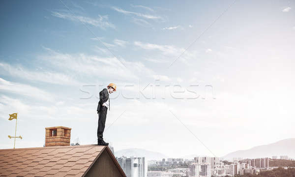 Businessman looking down from roof and modern cityscape at backg Stock photo © adam121