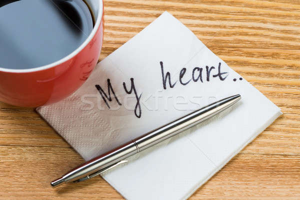 ロマンチックな メッセージ 書かれた ナプキン コーヒーカップ ペン ストックフォト © adam121
