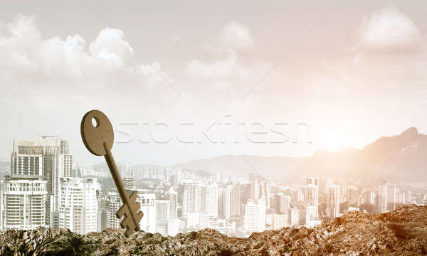 Conceptual background image of concrete key sign and natural lan Stock photo © adam121