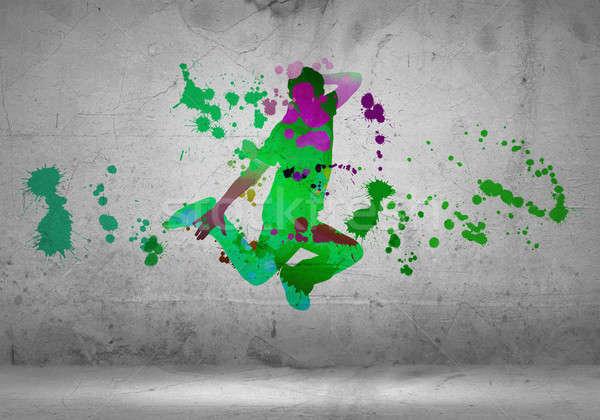 Stok fotoğraf: Soyut · dansçı · görüntü · renk · siluet · gri