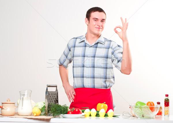 Portré fiatalember tart tojás ok üzlet Stock fotó © adam121