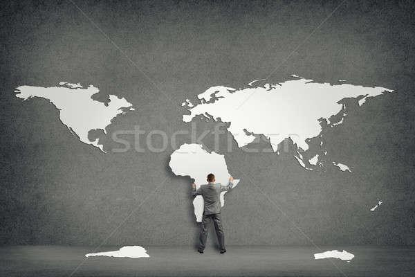 Biznesmen ściany kontynenty kontynent Afryki strony Zdjęcia stock © adam121