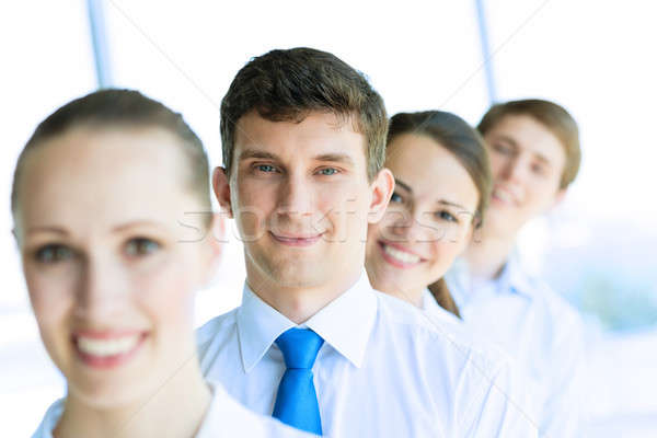 Photo stock: Travail · d'équipe · portrait · jeunes · affaires · permanent · rangée