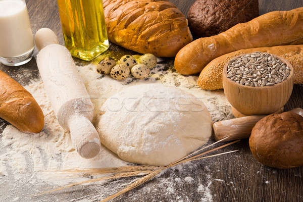 Stock photo: flour, eggs, white bread, wheat ears