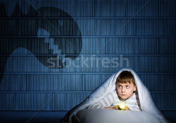 Stock fotó: Fiú · elemlámpa · kép · éjszaka · félő · szellemek