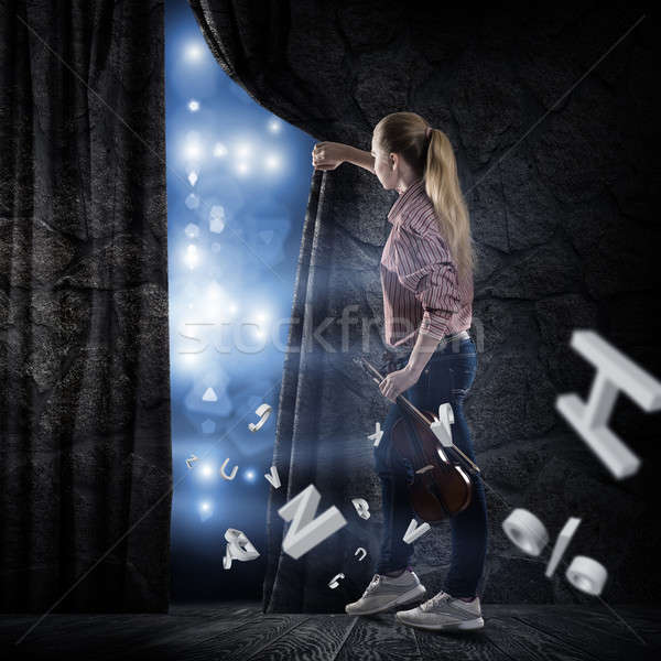 young woman pushes the curtain Stock photo © adam121