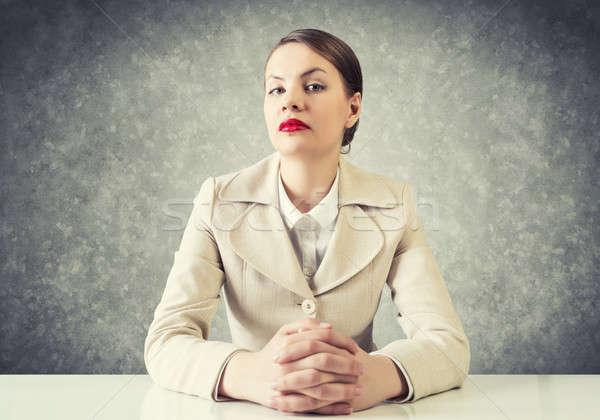 Sérieux femme d'affaires portrait jeunes élégante séance Photo stock © adam121