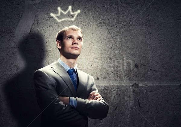 Foto stock: Empresario · corona · jóvenes · guapo · cabeza · diversión