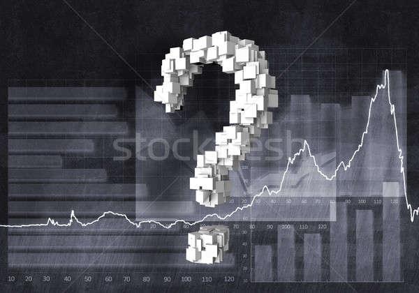 Vraag financiële groei groot vraagteken grafieken Stockfoto © adam121