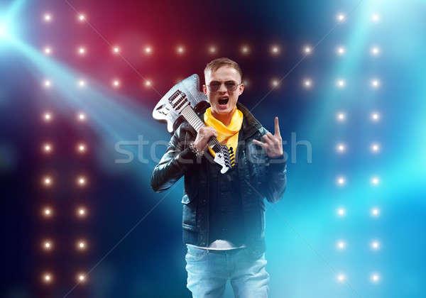 Rock star etapie młody człowiek rock muzyk światła Zdjęcia stock © adam121
