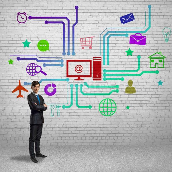 пользователь интерфейс бизнесмен цвета применение иконки Сток-фото © adam121