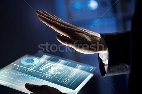 Nieuwe zakenman hand aanraken vinger Stockfoto © adam121