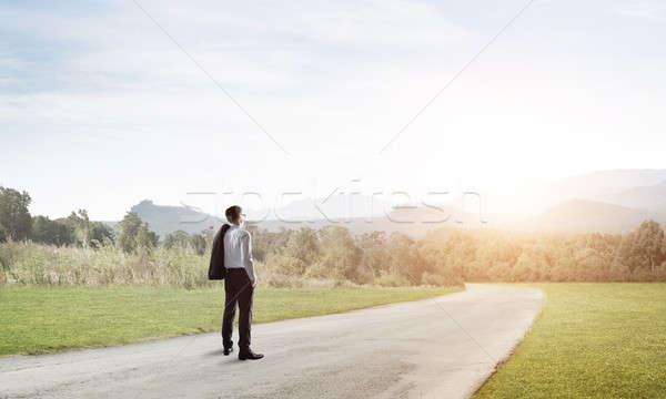 Manier succes elegante zakenman weg permanente Stockfoto © adam121