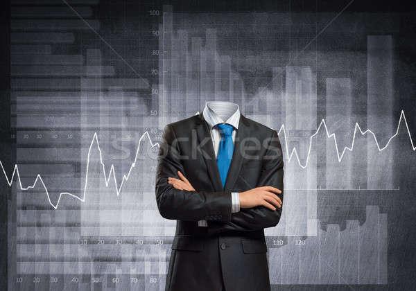Zakenman hoofd borst zwart pak gezondheid Stockfoto © adam121
