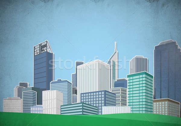 Stock photo: Drawn colorful cityscape
