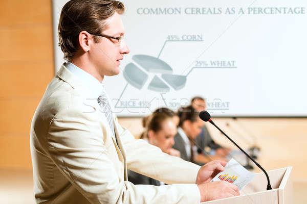 Erkek konuşmacı oda mikrofon konuşma Stok fotoğraf © adam121