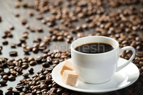 Кубок черный кофе частей сахарного тростника кофе вокруг Сток-фото © adam121