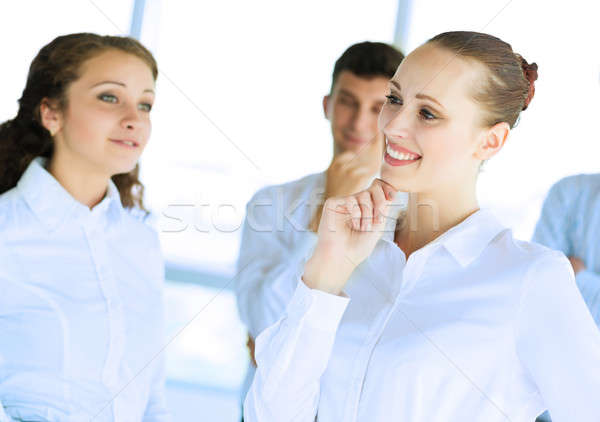 üzletemberek megbeszél ízület feladat barátságos csapatmunka Stock fotó © adam121