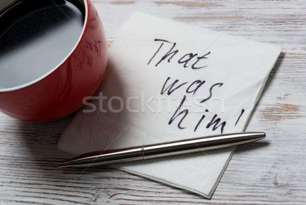 Stock photo: Message written on napkin