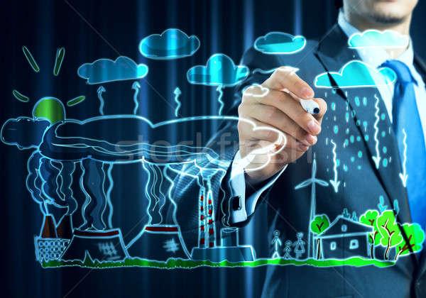 Fabricación ecología interacción cerca vista empresario Foto stock © adam121