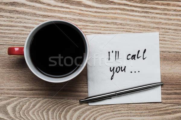 Romántica mensaje escrito servilleta taza de café pluma Foto stock © adam121