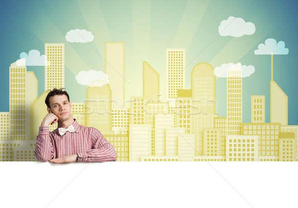 скучно человека баннер молодые парень рубашку Сток-фото © adam121