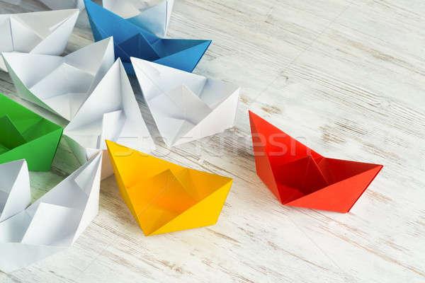 бизнеса руководство белый цвета бумаги лодках Сток-фото © adam121