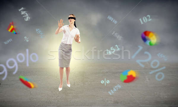 young blindfolded woman Stock photo © adam121