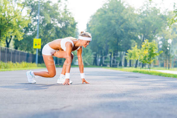 Сток-фото: спортсмена · начала · Runner · Открытый · Постоянный