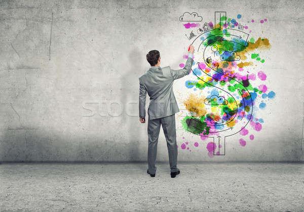 創造的思考 背面図 ビジネスマン 図面 スケッチ ドル ストックフォト © adam121