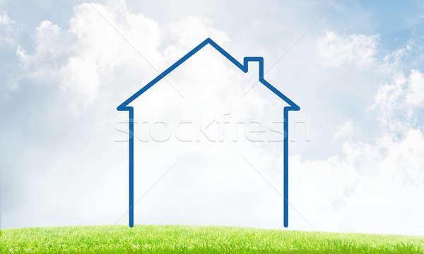 дома небе пейзаж Рисунок недвижимости символ Сток-фото © adam121