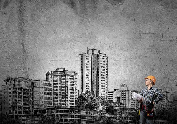 Développement plan ingénieur femme blueprints Photo stock © adam121