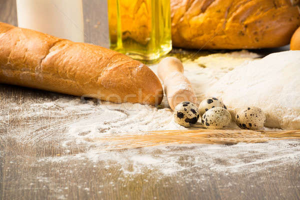 Stock photo: flour, eggs, white bread, wheat ears