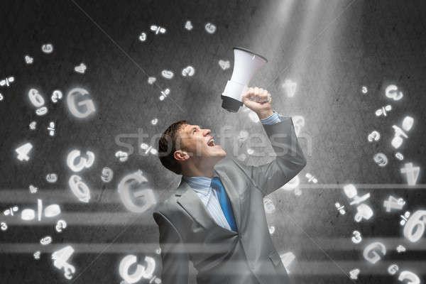 Agresywny zarządzania młodych biznesmen krzyczeć człowiek Zdjęcia stock © adam121
