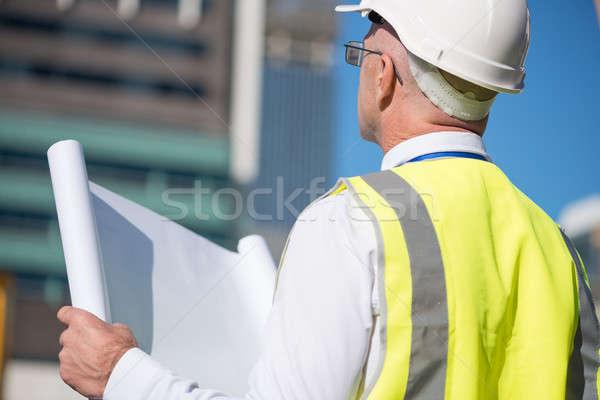 Altos ingeniero vista posterior construcción casco de seguridad mirando Foto stock © adam121