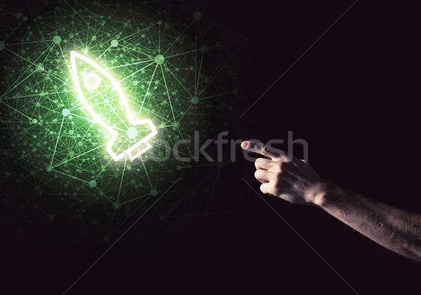 Stock fotó: Férfi · pálma · bemutat · rakéta · webes · ikon · technológia