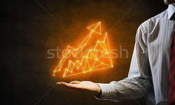 Groei vooruitgang sluiten zakenman hand tonen Stockfoto © adam121