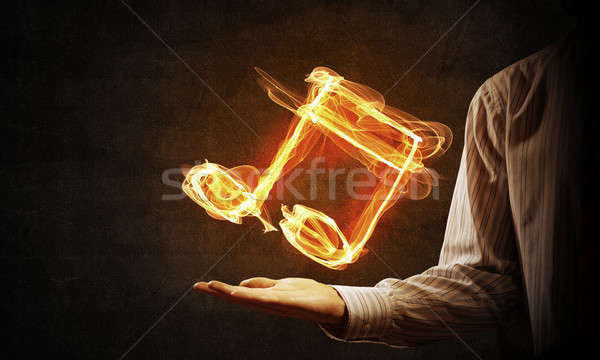 Zdjęcia stock: Ognia · muzyki · ikona · osoby · strony