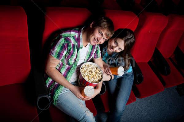 Pár mozi film színház néz 3D Stock fotó © adam121