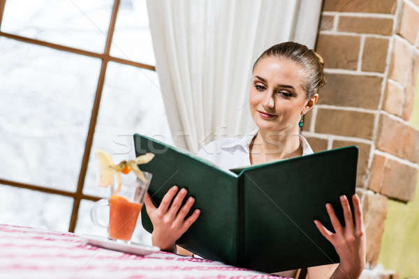 portrait of a nice lady at the restaurant Stock photo © adam121