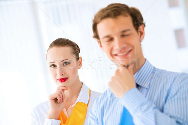 Sikeres üzletasszony portré üzletasszony néz iroda Stock fotó © adam121