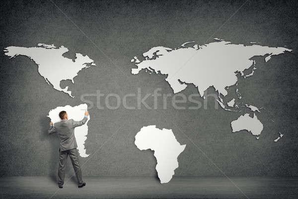 ビジネスマン 壁 大陸 大陸 手 ストックフォト © adam121