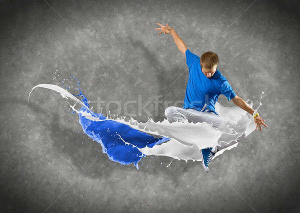 Stok fotoğraf: Erkek · dansçı · sıçraması · boya · dans · moda