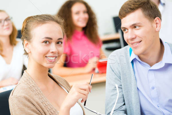 Diákok osztályterem kép tanít egyetem lány Stock fotó © adam121